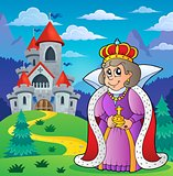 Happy queen near castle theme 2