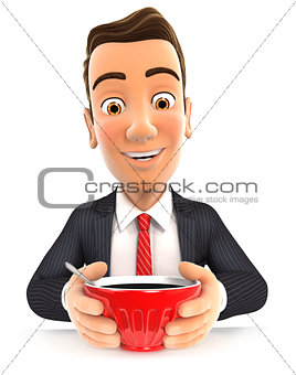 3d businessman drinking a cup of coffee