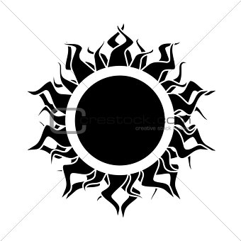 abstract isolated black  sun. vector.