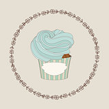 Cupcake and doodle frame. Vector illustration