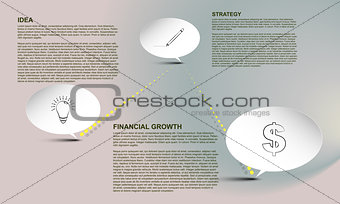 Timeline infographic, Timeline infographics with text bubbles and connection on gradient background with outline icons and place for text, financial growth infographic