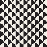 Vector Seamless Black And White Overlapping Semi Circle Pattern