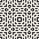 Vector Seamless Black And White Rounded Rectangles Ethnic Oriental Pattern