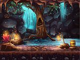 Cave with a waterfall - magic tree and barrel of gold