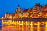 Fire show on Motlawa River, Gdansk, Poland