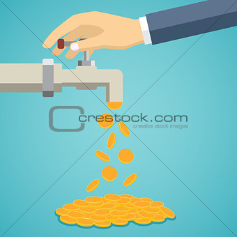 Business hand open tap with gold coins.