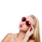 Girl in lips shaped sunglasses