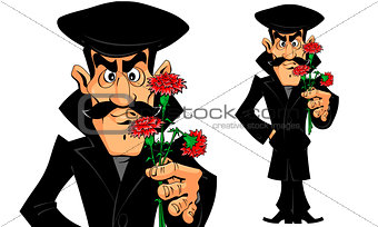 Caucasian Man with Flowers on a Date