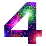 Number of colorful firework, four