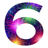 Number of colorful firework, six