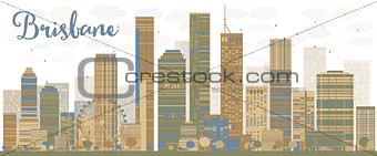 Abstract Brisbane skyline with color buildings