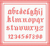 Christmas Font: knitted gothic alphabet in red color.
