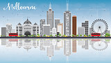 Melbourne Skyline with Gray Buildings, Blue Sky and Reflections.