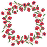 Poppies watercolor wreath on white background.