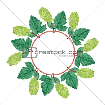 Watercolor grapes wreath.