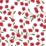 Pattern with hand painted poppies and green leaves.