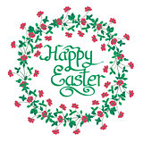 Happy Easter Text inside watercolor Flowers wreath on white back
