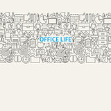 Business Office Life Line Art Seamless Web Banner