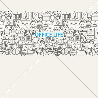 Business Office Life Line Art Seamless Web Banner