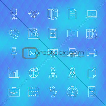 Business Office Line Icons Set over Polygonal Background