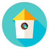 Garden Bird House Circle Icon