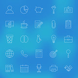 Office Business Line Icons Set over Blurred Background