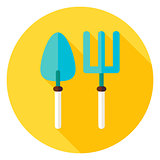 Shovel and Garden Fork Circle Icon