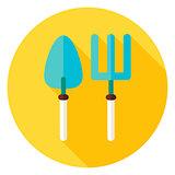 Shovel and Garden Fork Circle Icon