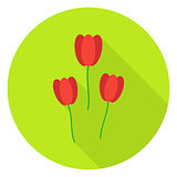 Three Tulips Garden Flowers Circle Icon