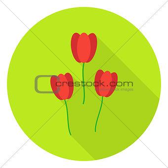 Three Tulips Garden Flowers Circle Icon