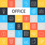 Vector Line Art Business Office Icons Set