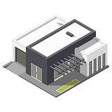 One-storey house with flat roof isometric icon set