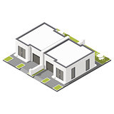 One storey connected cottage with flat roof isometric icon set