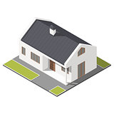 One-storey house with slant roof isometric icon set