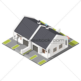 One storey connected cottage with slant roof for two families isometric icon set