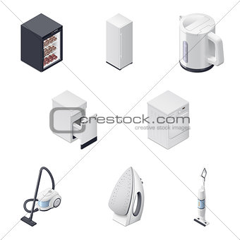 Household appliances detailed isometric icons set, part 3