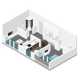 Residential apartment with balcony isometric icon set