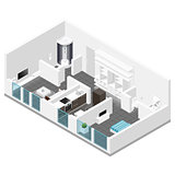 Residential apartment isometric icon set