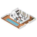 Penthouse apartment isometric icon set