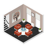 Hall room isometric icon set