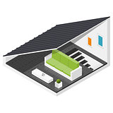 Attic of a private house isometric icon set