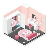 Women room isometric icon set