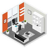 Home offices room isometric icon set