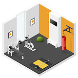 Home fitness room isometric icon set