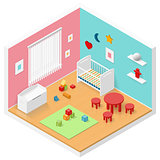 Child playroom isometric icon set