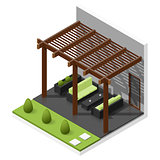 Inner courtyard isometric icon set