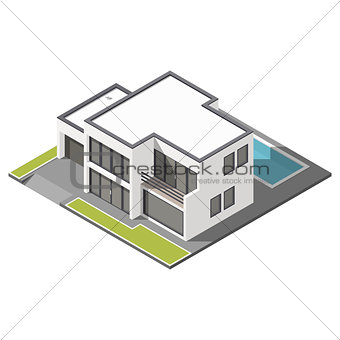 Modern two-story house with flat roof sometric icon set
