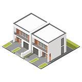 Two story connected cottage with flat roof isometric icon set