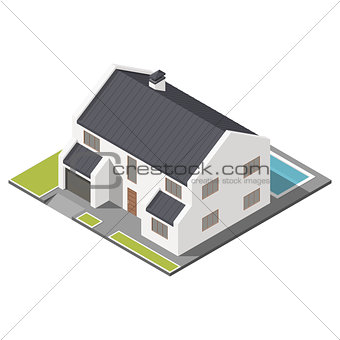 Modern two-story house with slant roof sometric icon set