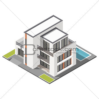 Modern three storey house with flat roof sometric icon set